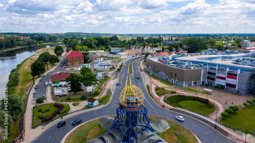Fotografia, Obraz Gorzów Wielkopolski, widok na wschód z widoczną wieżą widokową Dominanta na rond