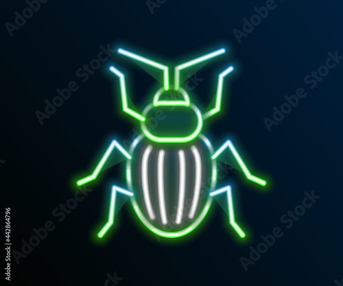Valokuva Glowing neon line Chafer beetle icon isolated on black background