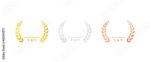 Photo set of gold silver and bronze medals flat icons / award / prize / rank / rankin