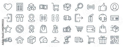 Fotografie, Obraz linear pack of e commerce line icons