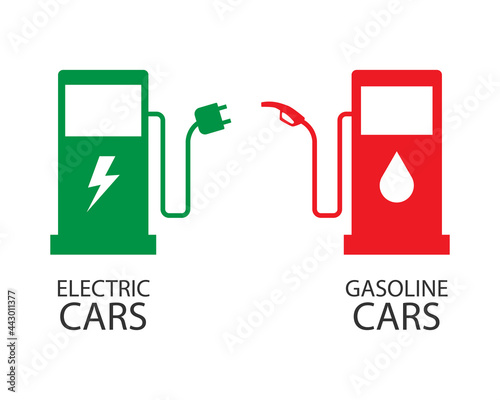 symbols for electric cars and gasoline cars Fototapet