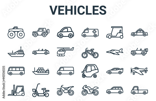 Fotografie, Obraz linear pack of vehicles line icons