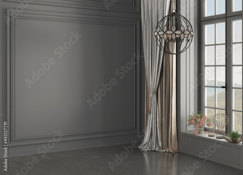 Canvas Print 3D rendering of home interior without furniture. 3D Rendering