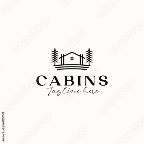 Cabin Monoline Concept Logo Template Isolated in White Background Fototapeta