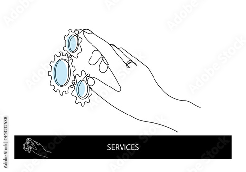 Fotografie, Obraz One line art for services category or settings
