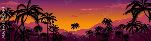 Palm tree silhouette background. California sunset landscape with exotic plants on horizon. Tropical forest and mountains. Scenic night sky. Nature panorama. Vector hot coast wallpaper