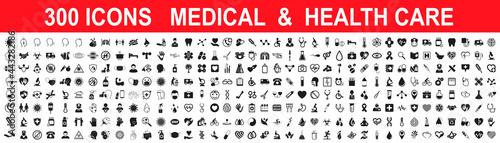 Vászonkép Set 300 Medicine and Health care flat icons