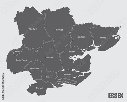 Платно Essex county administrative map