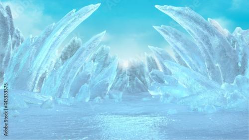 Fotografia, Obraz Fantasy ice planet,Abstract crystal landscape,3d rendering.