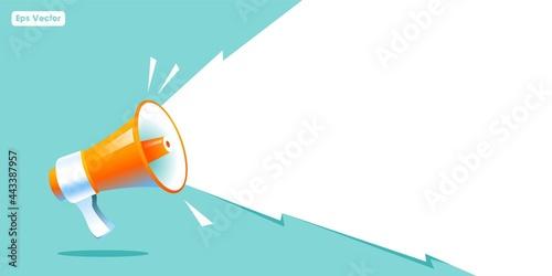Vászonkép shouting megaphone vector Illustration on blue banner background, concept of joi
