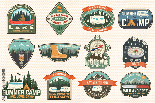 Set of rv camping badges, patches Fototapet