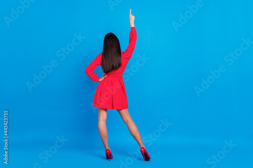 Fotografiet Full length body size rear back behind view of chic lady posing dancing having f