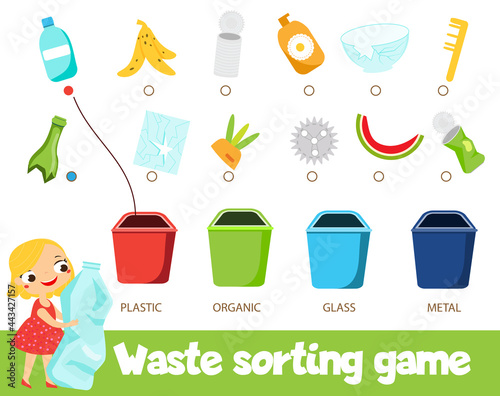 Fotografering Garbage sorting educational children game