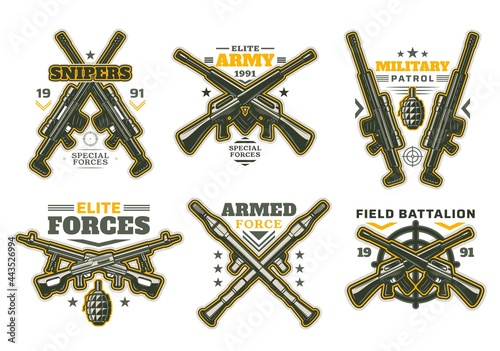 Fotografia Military and army heraldry icons with isolated vector guns and weapon targets