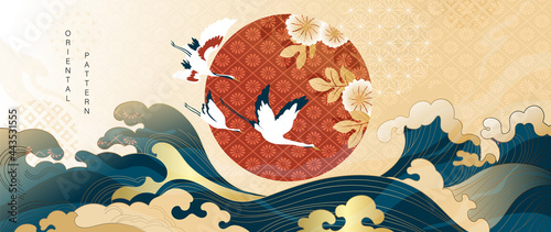 Luxury gold oriental style background vector. Chinese and Japanese oriental line art with golden texture. Wallpaper design with Cherry blossoms flower and Flamingo. Red sun, Ocean and wave wall art.