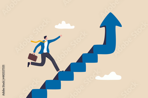 Improvement or career growth, stairway to success, growing income or improve skill to achieve business target concept, confidence businessman step walking up stair of success with rising up arrow Fotobehang