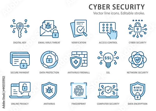 Canvas Print Cyber security line icons set