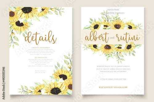 Fotografie, Obraz watercolor sunflower invitation card