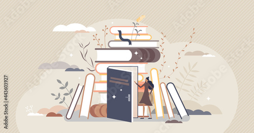 Exploring books and open education door to new knowledge tiny person concept. Reading hobby and relaxation with literature vector illustration. Expanding horizon and learning scene with novel pile.