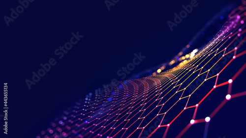 Cyber big data flow. Blockchain data fields. Network line connect stream. Concept of AI technology, digital communication, science research, 3D illustration neural cells