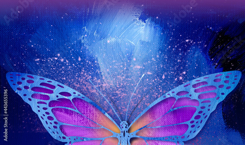 Stampa su Tela Graphic abstract closeup butterfly in magenta with purple speckle horizontal bac