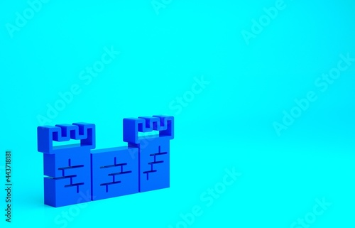 Canvas Print Blue Great wall of China icon isolated on blue background