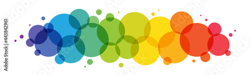 Fotografie, Obraz Rainbow gradient vector circles background on white background