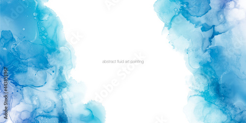 Abstract blue painting by watercolor and alcohol ink texture isolated on white background with empty space for text.