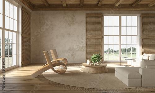 Fotografia, Obraz Scandinavian farmhouse style beige living room interior with natural wooden furniture