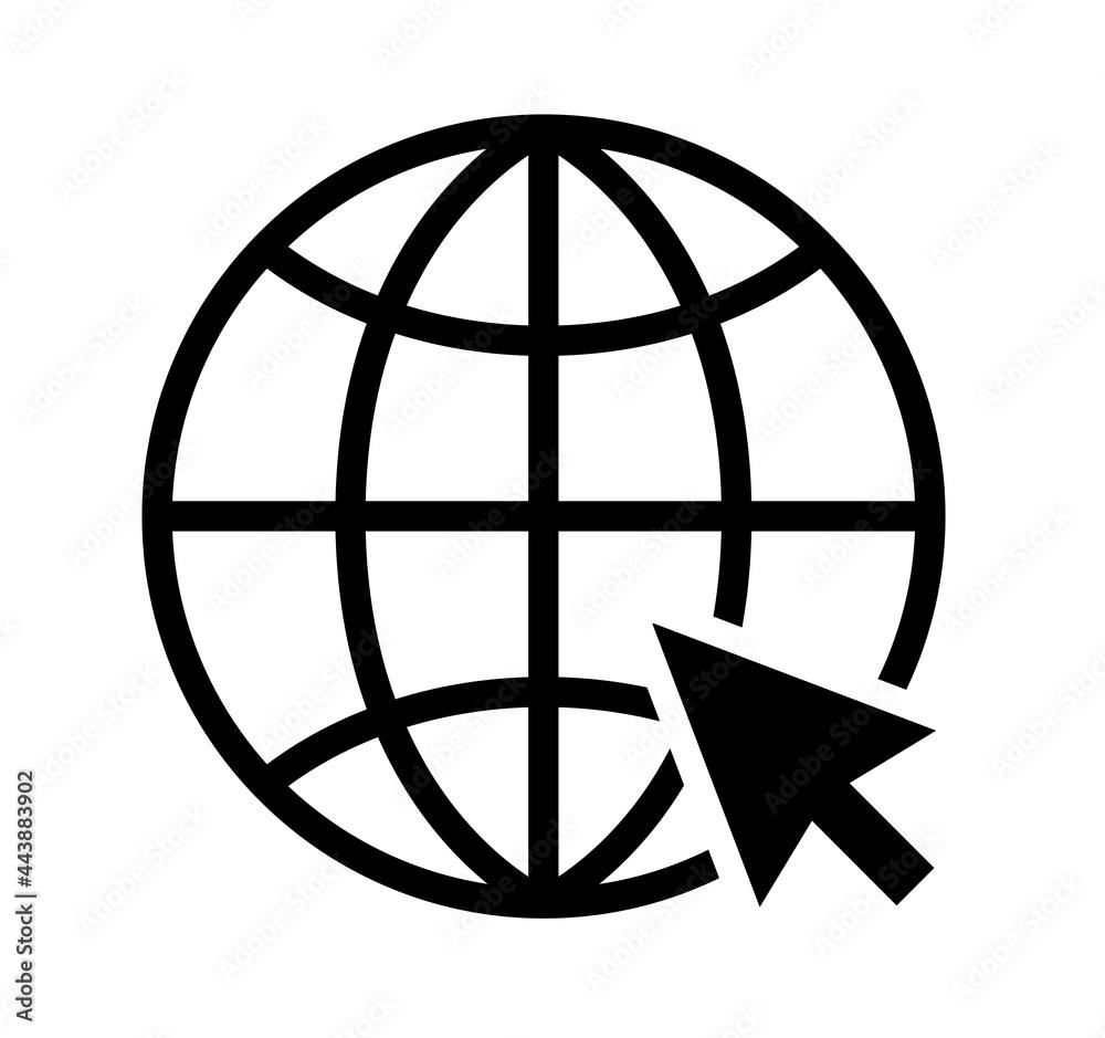 Obraz Go to web icon symbol. Internet icon.  Website icon set. Globe icon.  Isolated vector. Vector fototapeta, plakat