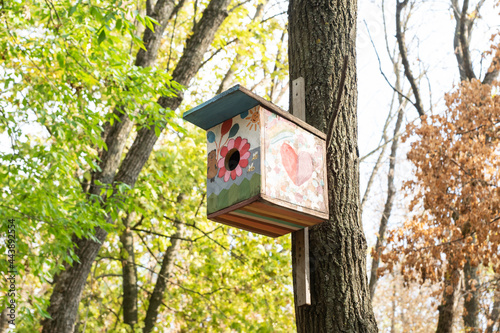 Canvas Painted birdhouse hanging on tree trunk in autumn forest, copy space