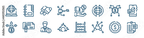 Photo business icons set such as contact list, digital key, spreading, pathway, banker, dollar coin outline vector signs