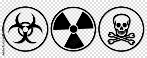 Canvas Print Biohazard, toxic and radiation signs