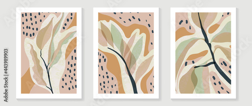 Minimal abstract art background vector. Wall art design for home decoration. Tropical plant , flower, botanical doodle hand drawn watercolor design for prints and home deco.