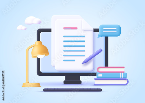 Homework assignment. Concept of e-learning, online education, home schooling, web courses, tutorials. 3d realistic vector illustration.