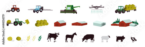 Fotografie, Tablou Agriculture and livestock icons set