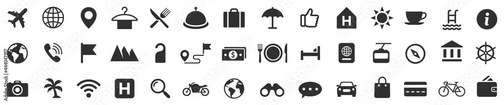 Obraz Travel icons set. Tourism simple icon collection. Vector fototapeta, plakat