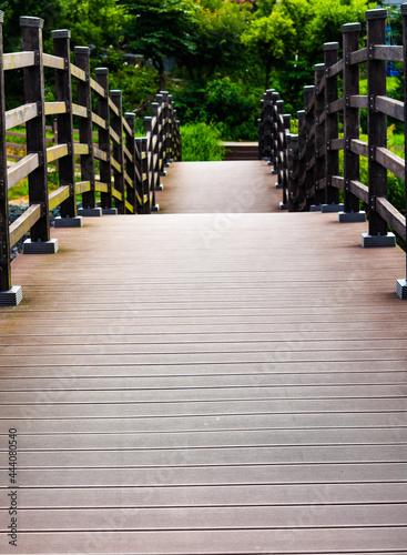 Empty Footbridge In Park Fototapet