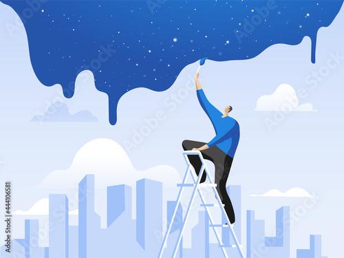 Canvas Print Uomo che dipinge la notte che scende sulla città