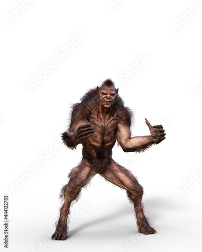 Canvas Print 3D illustration of a cursed shapeshifting werewolf from folklore isolated on white