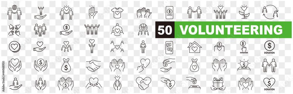 Obraz Volunteering icons set. Outline set of volunteering vector icons for web design isolated on white background fototapeta, plakat