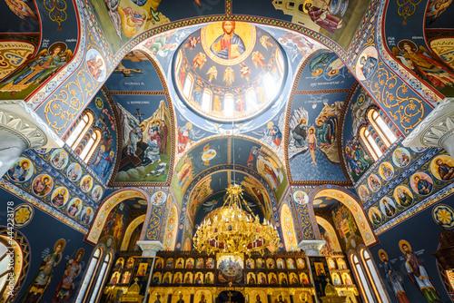 Obraz na plátně Beautiful Orthodox church interior stock photo