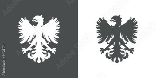 Leinwand Poster Logo heráldica con silueta de águila medieval de pie en fondo gris y fondo blanc