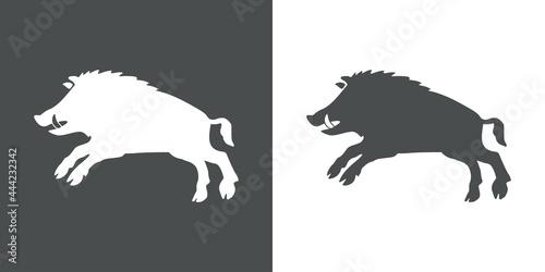 Foto Logo heráldica con silueta de jabalí medieval en fondo gris y fondo blanco