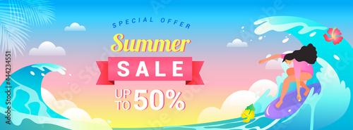 Fotografia Summer Sale Banner vector illustration