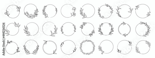 Obraz na plátne Laurels frames branches with circle borders vector collection