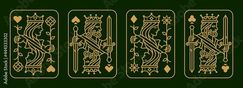 Obraz na plátně custom gold King and queen playing card deck vector illustration set of hearts,