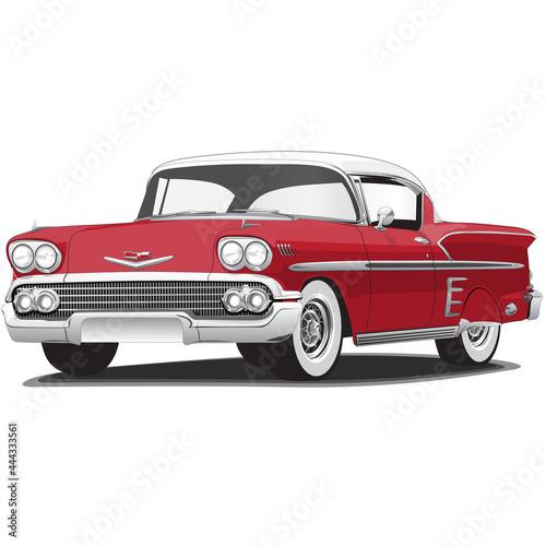 1950's Red Vintage Classic Car Illustration Fototapet