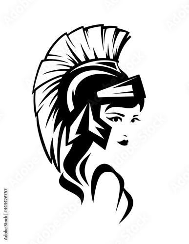 Photo beautiful Athena Pallas wearing helmet - ancient greek goddess woman black and w