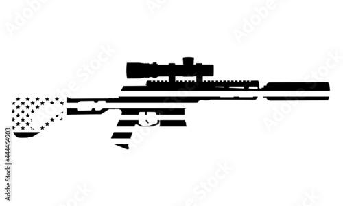 Fotografie, Obraz Sniper Rifle Silhouette American Flag Q Mini Fix